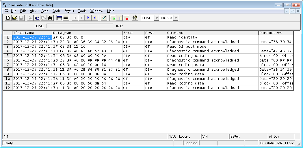 Screenshot of NavCoder main window