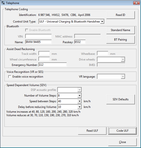 Screenshot of Telephone coding dialog